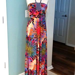 626 Main multicolored maxi halter dress